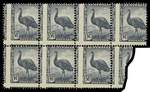 1942 5½d Slate-Blue Emu block of 7 with vertical perforations misplaced 3-4mm to the left and horizontal perforations misplaced slightly diagonally 1-2mm downwards MUH. ACSC 232bb. Catalogue Value $1,925.00.