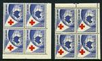 1954 3½d Red Cross lower left one dot Plate dot corner block of 4 and lower right two dots Plate dot corner blocks of 4, lightly hinged on top units and lower units MUH. Two dots block lightly creased on right units. ACSC 312zn and zq.