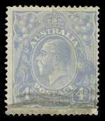 1922 4d Ultramarine Single Wmk KGV with White flaw on King's temple variety GU. Bent upper and lower right corner perf hardly detracts. The ACSC states approximately 50 used examples have been reported. Scarce. ACSC 112(1)g. Catalogue Value $1,500.00.