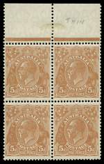 1930 5d Orange-Brown Small Multiple Wmk perf 13½ KGV marginal block of 4 MUH. Top right unit with Thin words of value variety. ACSC 126h.