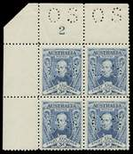1930 3d Blue Sturt perforated OS Plate No 2 corner block of 4, lightly hinged on lower right unit and remaining units MUH. 2017 Ceremuga certificate stating genuine in all respects. ACSC 140(OS)za. Catalogue Value $575.00.