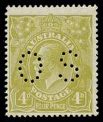 1928 4d Olive Small Multiple Wmk perf 14 KGV perforated OS MLH and centered to lower left.