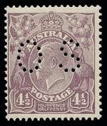 1928 4½d Violet Small Multiple Wmk perf 13½ KGV perforated OS MUH and centered to left.