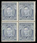 1937 3d Blue Die 1A KGVI block of 4 MUH and centered to left.
