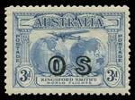 1931 3d Blue Kingsford Smith O/P OS MLH. 2017 Ceremuga certificate stating genuine in all respects.