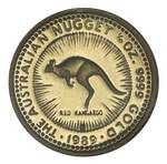 1989 Perth Mint 1/10oz Gold Proof Nugget coin, with certificate in presentation folder. Contains 3.133g of .9999 Gold.