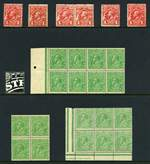 1913 1d Red Engraved (6), 1914-24 ½d Green (40), ½d Orange (8), 1d Red (22), 1d Red Die III (2), 1d Violet (20), 1d Green (25), 1½d Black-Brown (5), 1½d Brown (10), 1½d Green (7), 1½d Red (35), 2d Orange (5), 2d Red (8), 2d Brown (3), 4d Orange (4), 4d Violet (2), 4½d Violet and 5d Brown (2) Single Wmk, 1918-24 ½d Green (14), 1d Red (3), 1d Green (5), 1½d Black-Brown (8), 1½d Brown (13) Large Mult Wmk, 1924 1d Green (11) and 1½d Red (6) No Wmk, 1926-27 ½d Orange (10), 1d Green (26), 1½d Red (29), 2d Brown (6) and 3d Blue Small Mult Wmk perf 14, 1926-30 ½d Orange (50), 1d Green (23), 1½d Red (35), 1½d Brown (5), 2d Red Die I (7) and Die II (17), 2d Brown (2), 3d Blue Die I (3) and Die II (2), 4½d Violet (2), 5d Brown (3), O/P OS set (2) and Surcharge set (18) Small Mult Wmk perf 13½ and 1931-36 ½d Orange (20, 9 O/P OS), 1d Green (24, 3 O/P OS), 1½d Brown (6), 2d Red (11), 3d Blue (2, one O/P OS) and 5d Brown C of A Wmk mixed MUH and MLH. Includes some blocks, perforated OS, shade variations and varieties. Some faults, but many in fine condition.