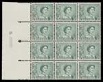 1959 3d Blue-Green Non Helecon QEII full Plate No 5 left side with lines after coil perf block of 12 MUH. ACSC 350zg.