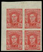 1942 2½d Scarlet KGVI imperforate block of 4 MUH. The ACSC states Possibly as many as five or six imperforate sheets were included in the material stolen from the Note Printing Branch in the 1940's. ACSC 230b. Catalogue Value $900.00.