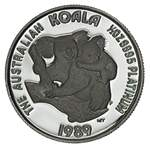 1989 ½oz Koala Perth Mint Platinum proof coin plus silver ingot in jarrah presentation box. Issue price $589.00.