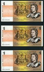 1972 $1.00 and $2.00 Phillips/Wheeler Commonwealth of Australia consecutive runs of 6 Banknotes aUnc.