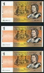 1966 $1.00 Coombs/Wilson EF (4), 1968 $1.00 Coombs/Randall F, 1969 $1.00 Phillips/Randall VF, 1972 $1.00 Phillips/Wheeler Commonwealth of Australia EF (4, inc consecutive run of 3), 1974 $1.00 Phillips/Wheeler Australia aUnc, 1977 $1.00 Knight/Stone VF and 1982 $1.00 Johnstone/Stone consecutive pair and run of 5 Unc and aUnc (10, inc DPS Last Prefix pair) Banknotes.