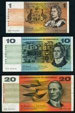 1967 $1.00, $10.00 and $20.00 Coombs/Randall banknotes F.