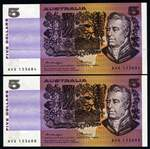 1975 $5.00 Knight/Wheeler OCR-B serial side thread Banknote aUnc (2). Both with identical large printing void of mauve colour on obverse, caused by a foreign material on the printing plate. Serial No's NVS 133684 and 133688.