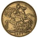 1907 KEVII Gold Sovereign F.