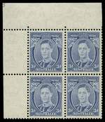 1938 3d Blue Die II Thin Paper KGVI upper left corner block of 4 showing large portion of Plate No 3, hinged on lower units and selvedge, upper units MUH. ACSC states three Plate No 3 blocks have been recorded, one from upper left and two from lower right. Rare. ACSC 194z.