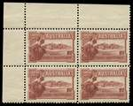 1927 1½d Canberra upper left corner block of 4 showing full Plate No 9, lightly hinged on lower units and upper units MUH. ACSC 132zh.