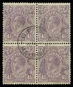 1930 4½d Violet Die II Small Multiple Wmk perf 13½ KGV lightly hinged CTO with gum block of 4. Light toning blemishes and lower right unit with few short perfs. Scarce multiple. ACSC 121.