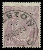 1924 4½d Violet Single Wmk KGV Inverted Watermark perforated OS good used with Preston 25NO29 Vic cancellation. Repaired lower left corner perf and small tear at base. ACSC states at least 6 used examples with watermark inverted and punctured OS exist. Rare. ACSC 118a. Catalogue Value $20,000.00.