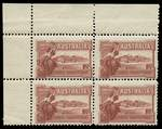 1927 1½d Canberra upper left corner block of 4 showing full Plate No 12, lightly hinged on lower left unit and remaining units MUH. Centered to lower right. ACSC 132zk.