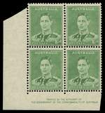 1941 1½d Green KGVI Authority imprint corner block of 4 with cracked plate - State I and imprint block of 4 from gutter with cracked plate State 1 and 2, lightly hinged on top units and selvedge and lower units MUH. ACSC 186zd, zg and zh. Catalogue Value $1,000.00.