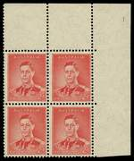 1937 2d Scarlet Die I KGVI full Plate No 1 upper right corner block of 4, lightly hinged on lower units and selvedge, upper units MUH. Units at left with crease. ACSC 187za. Catalogue Value $600.00.