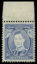 1938 3d Blue Die II Thin Paper KGVI marginal copy with ink striping (white face and leaves) MLH. ACSC 194c.