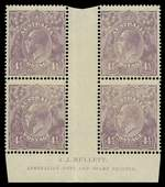 1924 4½d Violet Single Wmk KGV Mullett imprint block of 4 with Deformed bottom left frame and white flaw from wattle to oval - second state, with break in left frame variety MUH. Hinge remainder in gutter. ACSC 118zd.