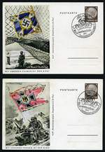 Collection of 62 mostly unused Third Reich postcards from 1927 to 1949, including artists cards, patriotic and propaganda cards and few special cancellations. Several with hinge marks and few duplicates. Noted 1941 'Mit Unseren Fahnen ist der Sieg' [Under our Flags Victory is Ours] set of 8 Military scenes by artist von Axster-Heudtlass, all cancelled 20.4.1941 [Hitler's birthday] special postmark and West Germany 1949 Opening of Parliament set unused.