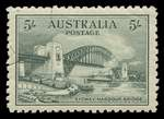 1932 5/- Green Sydney Harbour Bridge CTO with gum and exceptionally well centered.