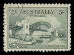 1932 5/- Green Sydney Harbour Bridge CTO without gum. Slightest thin, but attractive space filler.