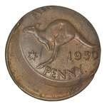 1950Y. KGVI Penny mis-struck twenty five percent off centre EF.