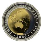 2000 $20.00 Bi-Metal Millennium colour proof coin in presentation case, with certificate. Contains .270oz of gold and .161oz of Silver.