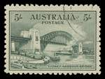 1932 5/- Green Sydney Harbour Bridge CTO without gum, reasonably centered, with one blunt perf.