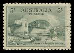 1932 5/- Green Sydney Harbour Bridge CTO with gum, well centered, with a few blunt perfs.