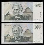 1991 $100 Fraser/Cole First Prefix ZHG paper banknote consecutive pair VF. Serial No ZHG 212178 to ZHG 212179. Renniks 224.