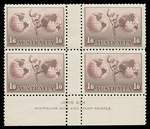 1934 1/6 No Wmk Hermes in MVLH well centered Ash imprint block of 4.