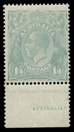 1920 1/4 Greenish-Blue Single Wmk KGV MUH and centered to right with part imprint.