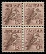 1914 6d Maroon Engraved Kookaburra in well centered block of 4, lightly hinged on upper units, the lower units unmounted. Superb.