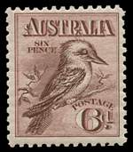 1914 6d Maroon Engraved Kookaburra MLH and centered to upper right.