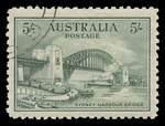 1932 5/- Green Sydney Harbour Bridge unmounted CTO with gum and well centered. One blunt perf.