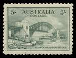 1932 5/- Green Sydney Harbour Bridge CTO with gum and well centered. Superb.