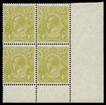 1928 4d Olive Small Multiple Wmk perf 14 KGV in MUH well centered lower right corner block of 4, with varieties