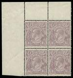 1927 4½d Violet Small Multiple Wmk perf 14 KGV upper left corner block of 4, lightly hinged on one unit, with varieties