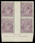 1928 4½d Deep Violet Small Multiple Wmk perf 13½ Ash Imprint block of 4, centered to left, very lightly hinged on upper units, the lower units MUH, with variety