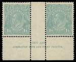 1932 1/4 Greenish Blue C of A Wmk KGV in MVLH Ash Imprint pair. One blunt perf.