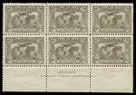 1931 6d Brown Airmail well centered imprint block of 6 from Plate 1, lightly hinged on 2 units, remaining units MUH. ACSC 144zd.