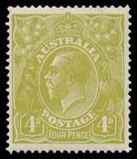 1928 4d Olive Small Multiple Wmk perf 14 KGV MUH and reasonably well centered.