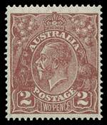 1927 2d Red Brown Small Multiple Wmk perf 14 MUH and reasonably centered.