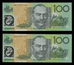 1996 $100.00 Fraser/Evans consecutive pair polymer banknotes Unc. Catalogue Value $700.00. [Please note catalogue description has been updated]